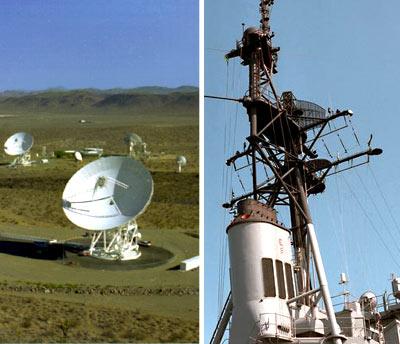 على اليسار: هوائيات في مجمع اتصالات الفضاء البعيد وهو جزء من شبكة ناسا للفضاء البعيد التي تساعد على تأمين اتصالات الراديو مع المركبات الفضائية، على اليمين: راديو مسح سطحي وراديو مسح هوائي مثبتان على مدمرة صواريخ موجهة