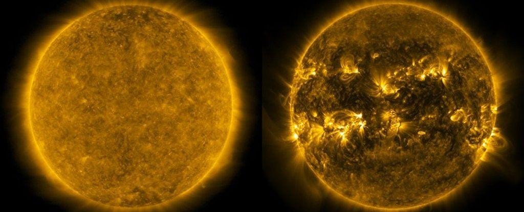 ذروة الدورة الشمسية (يمينًا) والدورة الشمسية الدنيا (يسارًا). (وكالة ناسا).