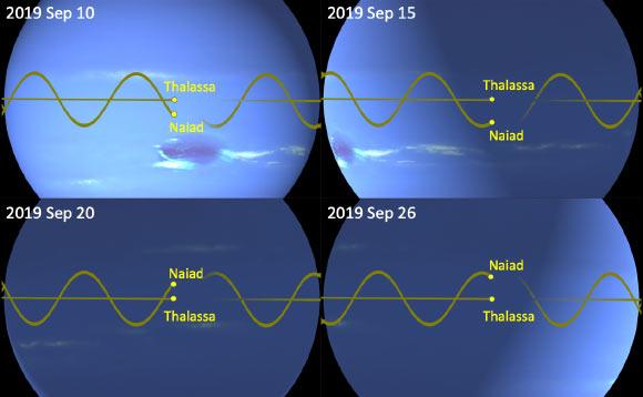 المداران المميزان لقمري نبتون الداخليين ناياد وثلاسا يمكناهما من تفادي بعضهما في أثناء سباقهما حول الكوكب العملاق