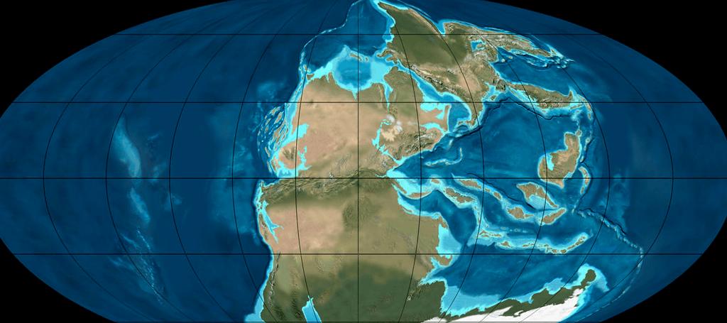 القارة العظمى بانجيا-Pangaea خلال العصر البرمي (250-300 مليون سنة مضت)