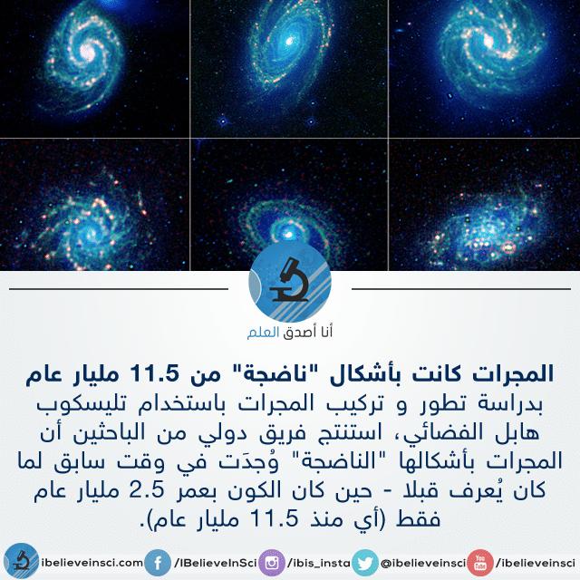 """المجرات كانت بأشكال """"ناضجة"""" من 11.5 مليار عام"""