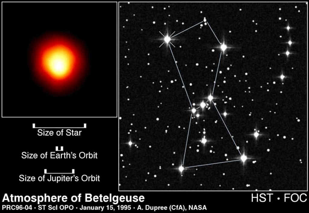 النجم المعروف بيد الجوزاء وهو في مرحلة النجم العملاق الأحمر فائق الضخامة، وكوكبة الجبار.