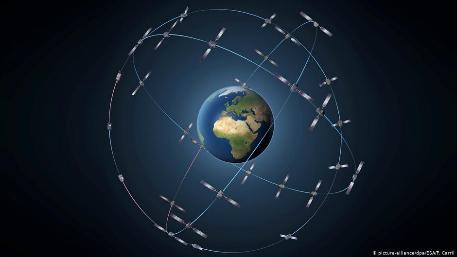 تمثيل للأجهزة المختلفة التي ترسل الإشارات إلى مستقبلات القمر الصناعي