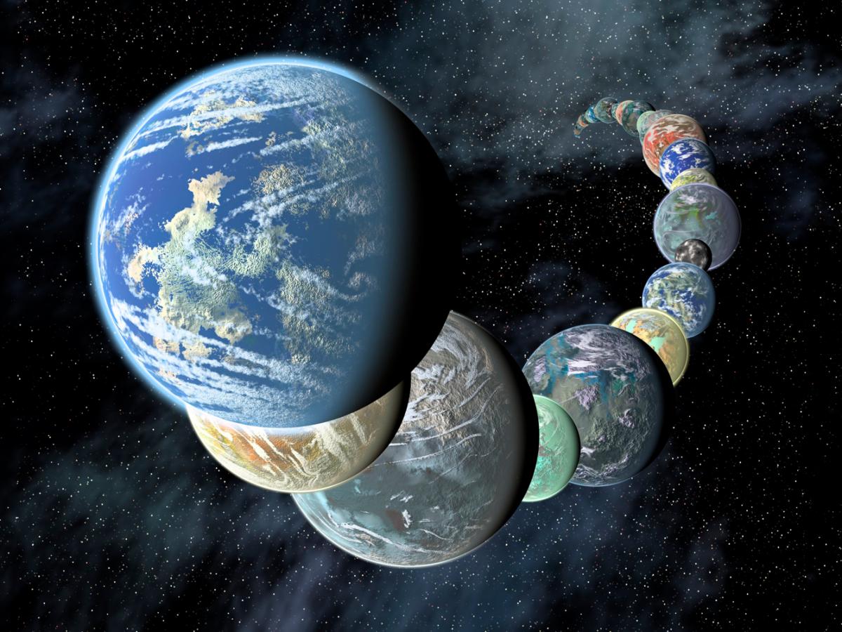 وصف الصورة: أشكال مختلفة لكواكب شبيهة بالأرض