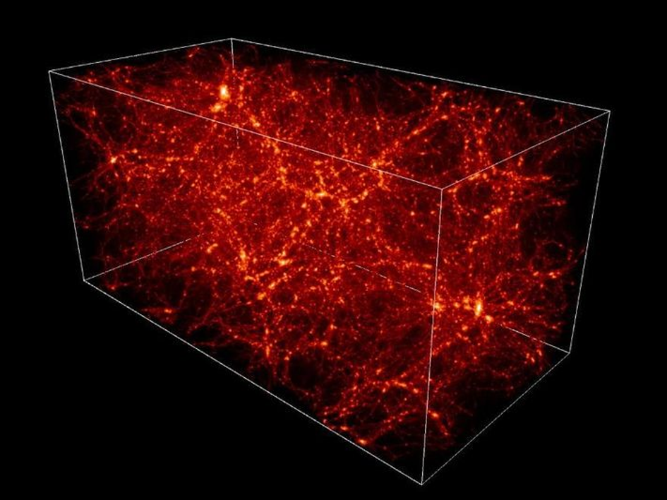 في علم الكونيات الحديث، تتخلل الكون شبكة واسعة من المادة المظلمة والمادة العادية. على نطاق المجرات الفردية والصغيرة، تكون البنى التي تشكلها المادة غير خطية بدرجة كبيرة، مع كثافة أكبر من المتوسط بكثير. ومع ذلك، على نطاقات كبيرة جدًا، تكون كثافة أي منطقة قريبة جدًا من متوسط الكثافة، بنسبة دقة تصل إلى 99.99%.