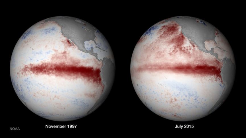 صور الأقمار الصناعية توضح ظاهرة إل نينو سنة 1997 وسنة 2015، وهما حدثان متطرفان من ظاهرة إل نينو التي تنبئ بوجود نمط مناخي جديد غريب