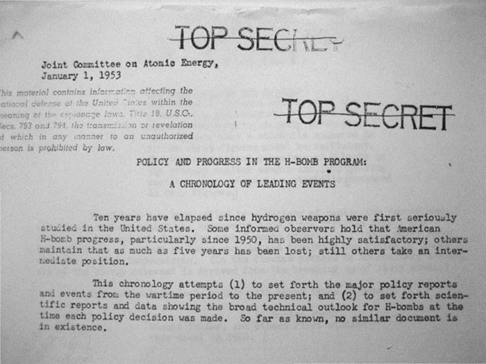 الوثيقة (السرية للغاية) للجنة المشتركة التي تفصل أحداث بحث القنبلة الهيدروجينية