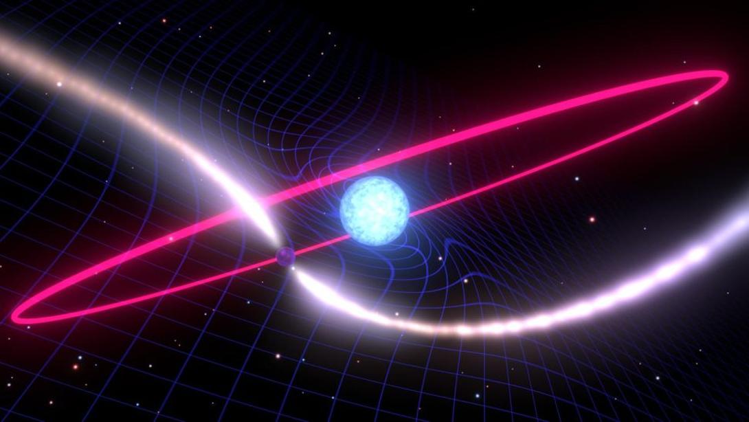 تصور فني لشد الإطار المرجعي (تأثير Lense-Thirring) الناتج عن قزم أبيض دوار في النظام النجمي الثنائي PSR J1141-6545
