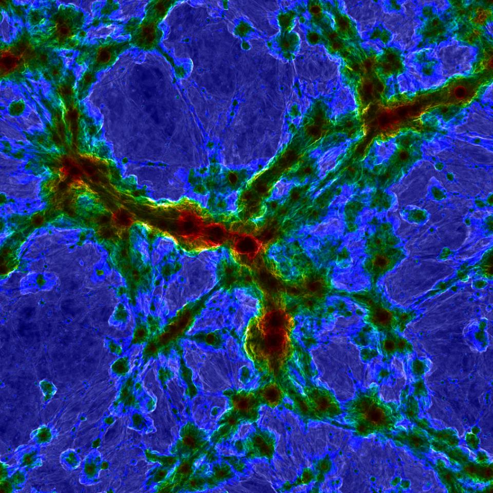 مراكز العناقيد المجرية الضخمة فائقة السخونة (المناطق الحمراء)، وتُظهر المناطق اللامعة الغاز المنتشر، الناتج من موجات الحرارة في المناطق بين المجرية، على الحدود بين الفراغات الكونية والخيوط المجرية