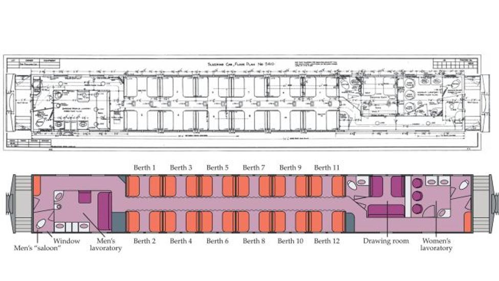 مخطط لمركبة بولمان التي أمضى فيها جون ويلر ليلته في 6 يناير 1953، أعلى: المخطط الأصلي لشركة بولمان، أسفل: رسم حاسوبي بواسطة ويلرستين