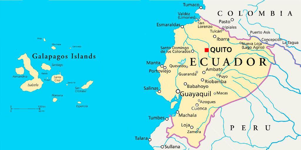 موقع جزر غالاباغوس Galapagos islands location