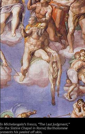 شرح الصورة: من أعمال مايكل آنجلو جدارية في كنيسة روما، يظهر فيها شكل جلد الإنسان.