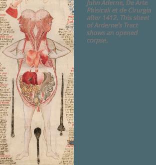 شرح الصورة: أحد أشهر أعمال جون أرديرني John Arderne المختص في الفن وجراحة الجسد، وتظهر صورة تشريحية لجسم الإنسان في عام ١٤١٢م.