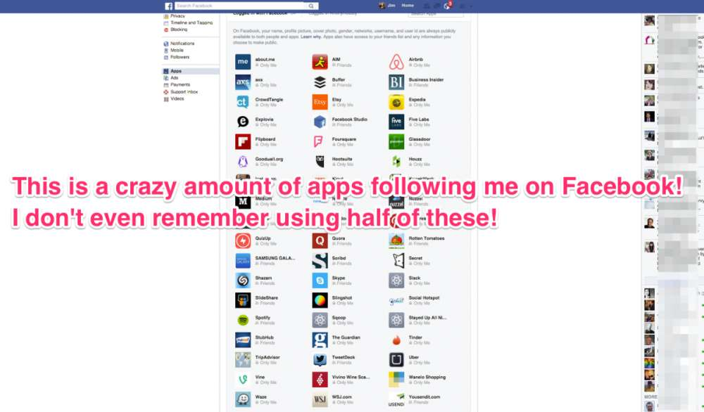 content 1521636701 5 voila the list of apps tracking me is so long i have to make this zoomed out view to see them all كيف تتمكن من معرفة وحظر التطبيقات التي تتتبّعك على فيس بوك؟