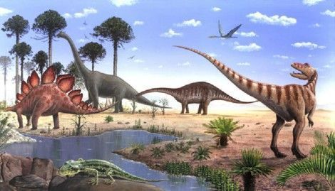 العصر الجوراسي ( الديناصورات العملاقة - اول ظهور للطيور - الانقراض الصغير )