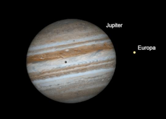 مقارنة جنبًا إلى جنب بين حجمي كوكب المشتري والقمر التابع له أوروبا