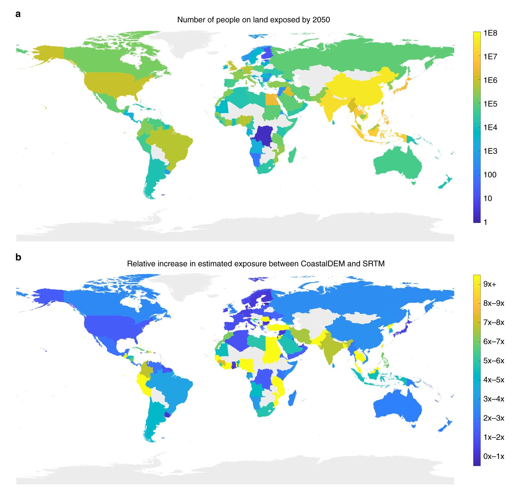مجموع السكان على الأراضي المعرضة للخطر