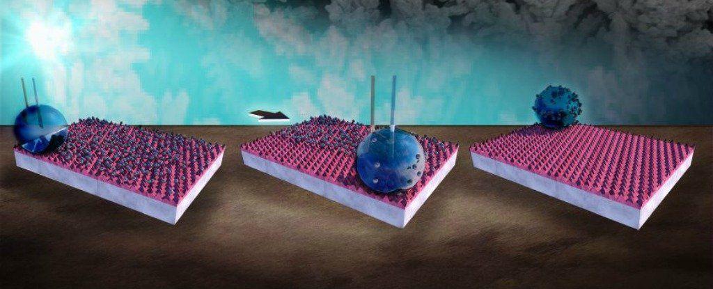 ابتكر العلماء مادة يمكن أن تتحول بنقرة زر بين طاردة لقطرات الماء أو قابلة لامتصاصها