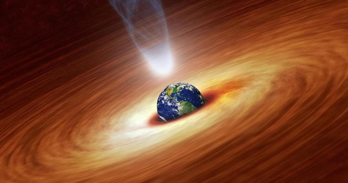 فيزيائي يتمكن من تصميم نموذج حاسبة يحاكي سيناريو اصطدام كوكب الأرض بثقب أسود الثقب الأسود في أثناء الاصطدام ومقدار الطاقة التي يحررها في أثناء ابتلاعه الأرض